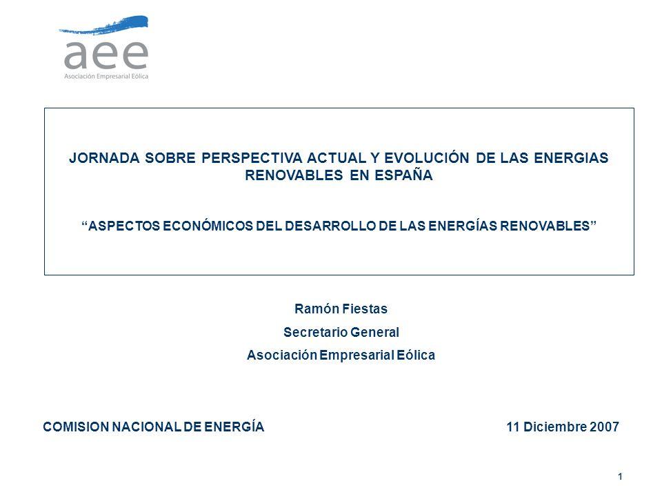 JORNADA SOBRE PERSPECTIVA ACTUAL Y EVOLUCIÓN DE LAS ENERGIAS RENOVABLES EN ESPAÑA