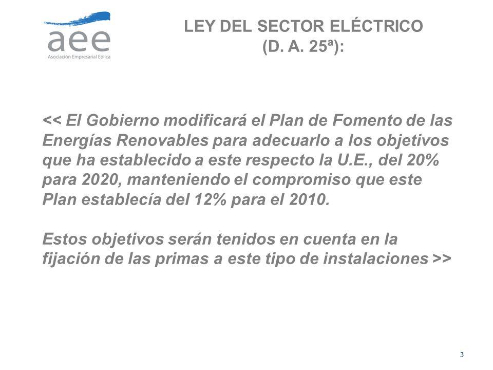 LEY DEL SECTOR ELÉCTRICO (D. A. 25ª):