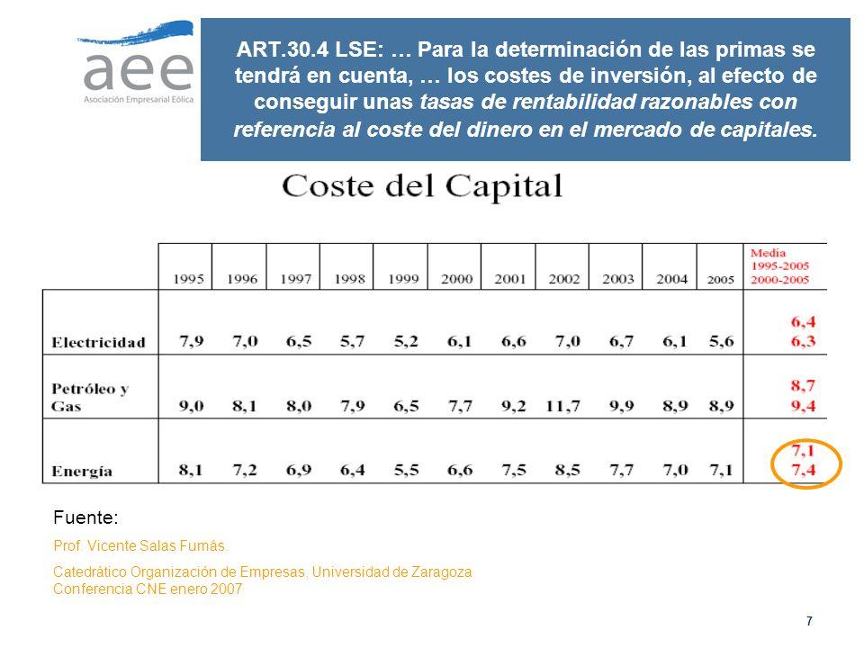 ART.30.4 LSE: … Para la determinación de las primas se tendrá en cuenta, … los costes de inversión, al efecto de conseguir unas tasas de rentabilidad razonables con referencia al coste del dinero en el mercado de capitales.