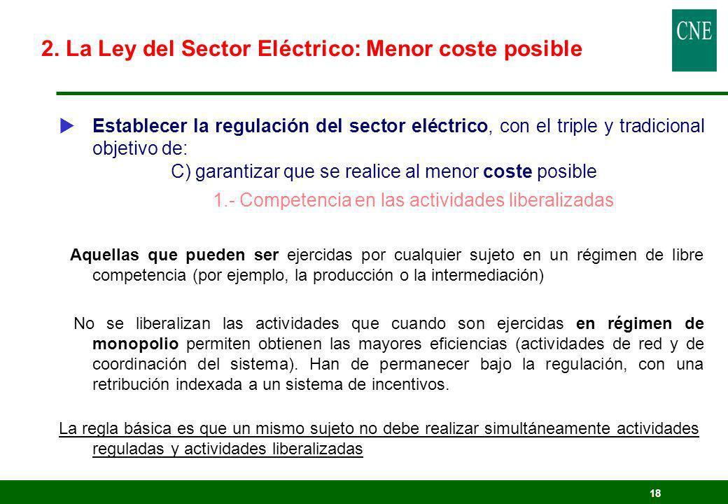 2. La Ley del Sector Eléctrico: Menor coste posible