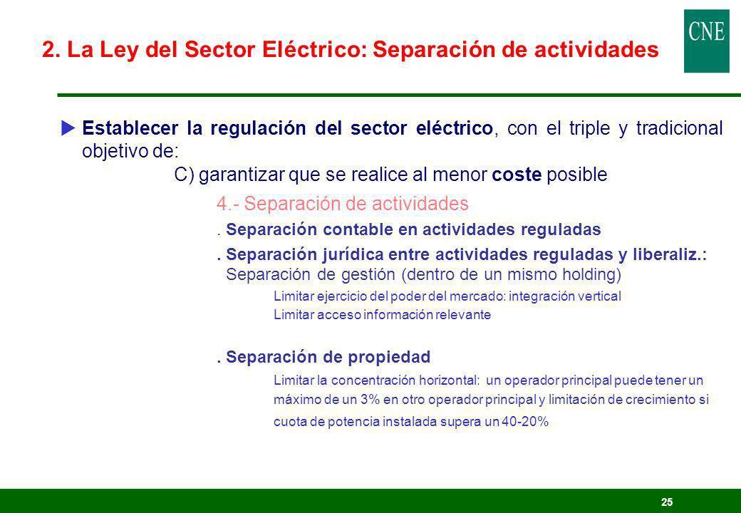 2. La Ley del Sector Eléctrico: Separación de actividades