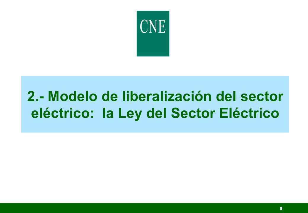 2.- Modelo de liberalización del sector eléctrico: la Ley del Sector Eléctrico