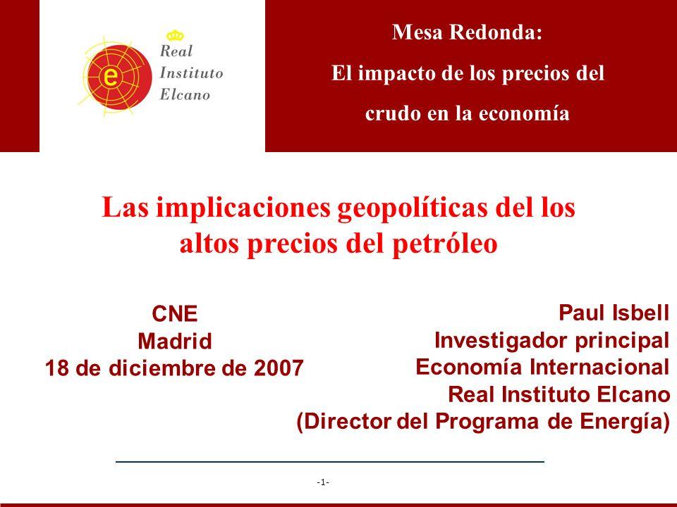 Las implicaciones geopolíticas del los altos precios del petróleo