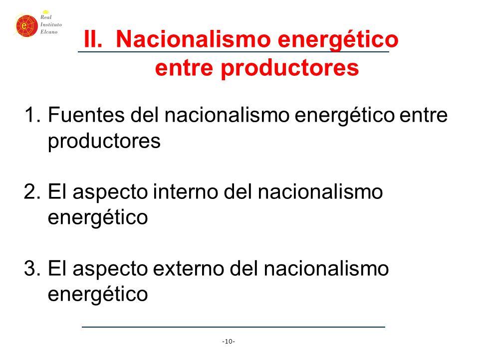 Nacionalismo energético entre productores