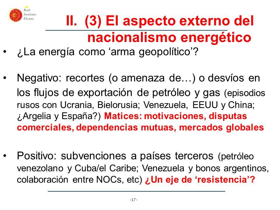 (3) El aspecto externo del nacionalismo energético