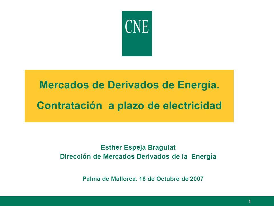 Mercados de Derivados de Energía. Contratación a plazo de electricidad