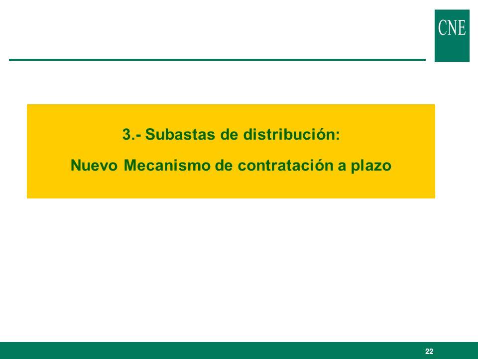 3.- Subastas de distribución: Nuevo Mecanismo de contratación a plazo