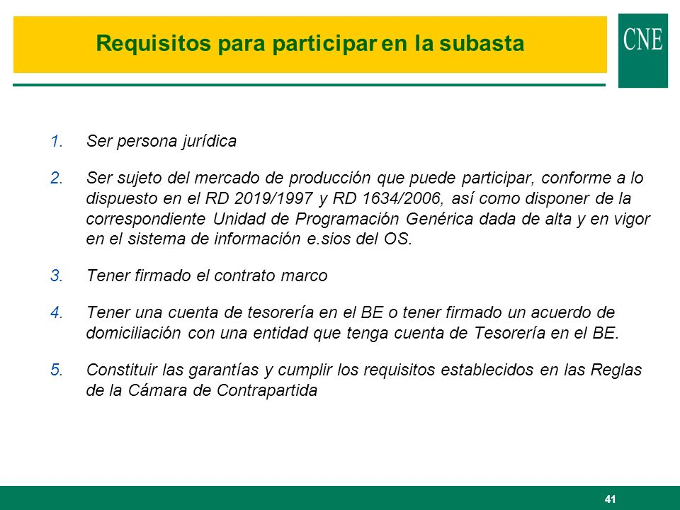 Requisitos para participar en la subasta