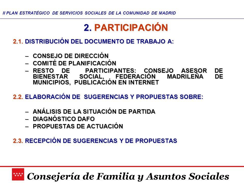 2. PARTICIPACIÓN 2.1. DISTRIBUCIÓN DEL DOCUMENTO DE TRABAJO A: