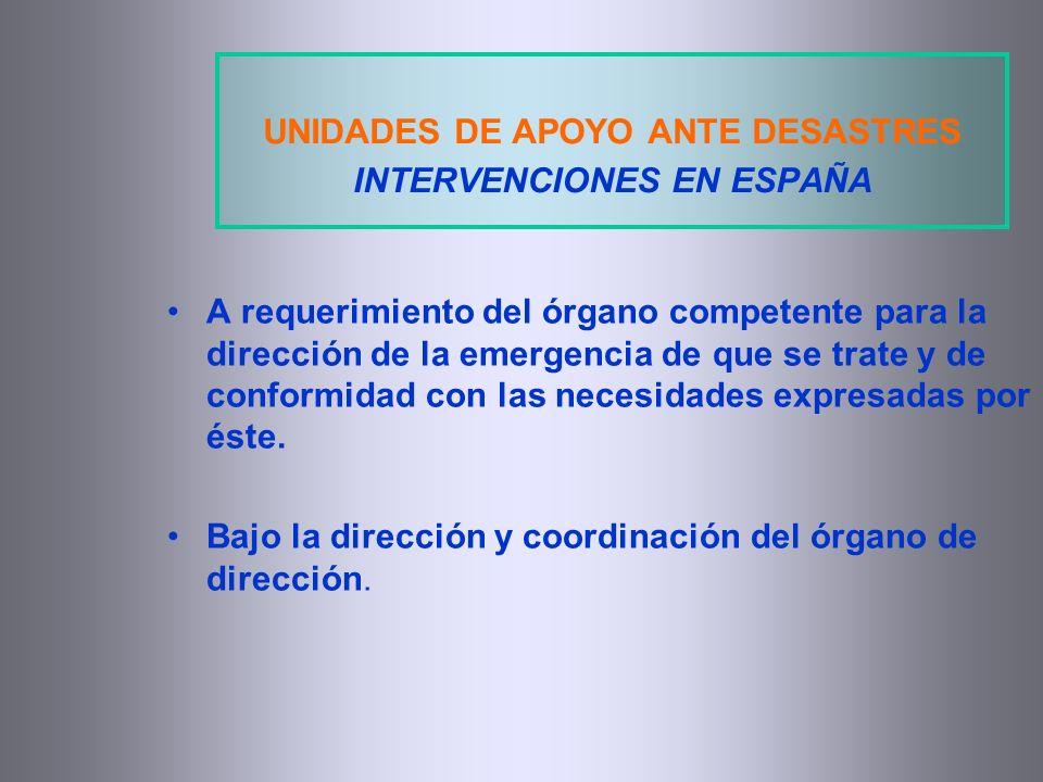 UNIDADES DE APOYO ANTE DESASTRES INTERVENCIONES EN ESPAÑA