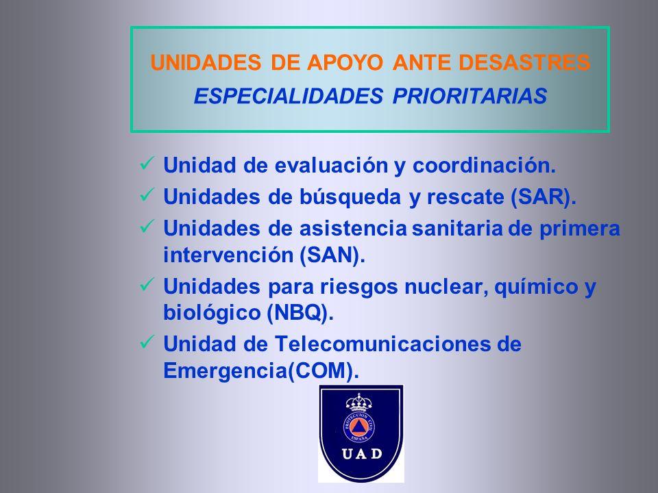UNIDADES DE APOYO ANTE DESASTRES ESPECIALIDADES PRIORITARIAS