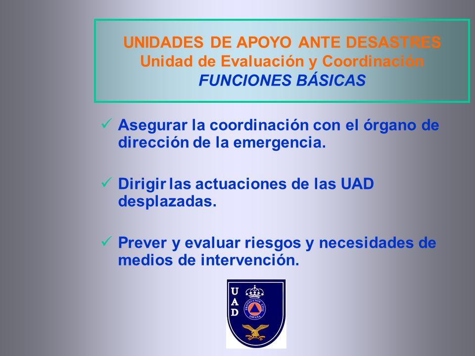 UNIDADES DE APOYO ANTE DESASTRES Unidad de Evaluación y Coordinación FUNCIONES BÁSICAS