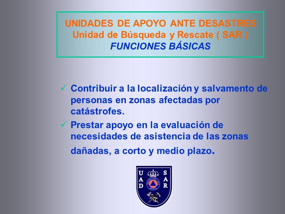 UNIDADES DE APOYO ANTE DESASTRES Unidad de Búsqueda y Rescate ( SAR ) FUNCIONES BÁSICAS