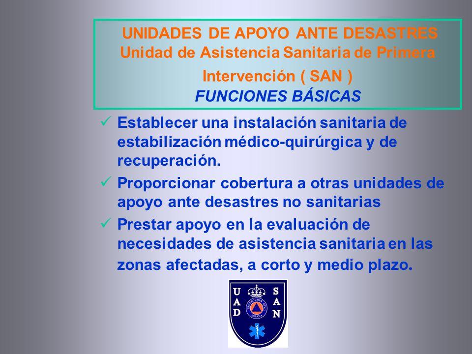 UNIDADES DE APOYO ANTE DESASTRES Unidad de Asistencia Sanitaria de Primera Intervención ( SAN ) FUNCIONES BÁSICAS