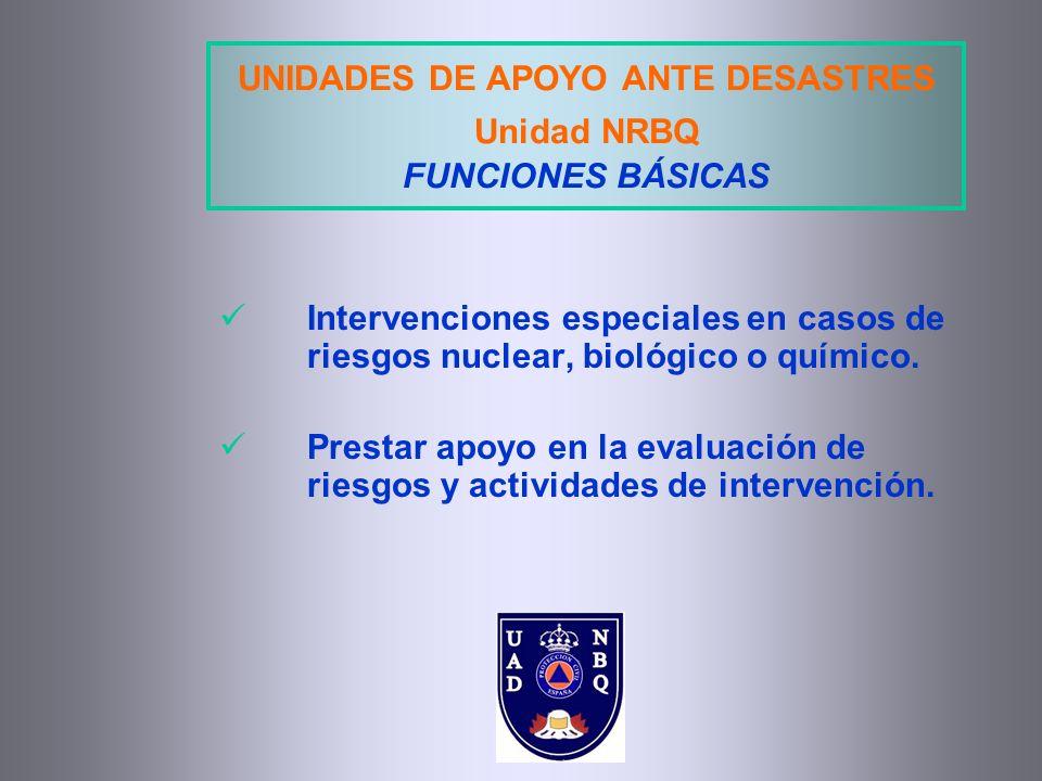 UNIDADES DE APOYO ANTE DESASTRES Unidad NRBQ FUNCIONES BÁSICAS