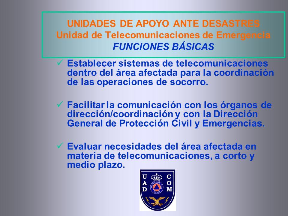 UNIDADES DE APOYO ANTE DESASTRES Unidad de Telecomunicaciones de Emergencia FUNCIONES BÁSICAS