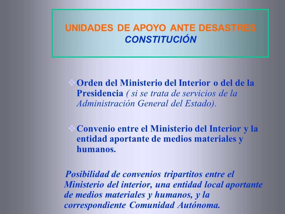 UNIDADES DE APOYO ANTE DESASTRES CONSTITUCIÓN
