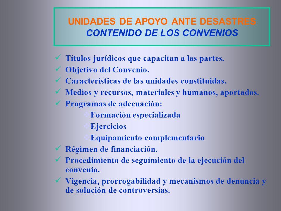 UNIDADES DE APOYO ANTE DESASTRES CONTENIDO DE LOS CONVENIOS
