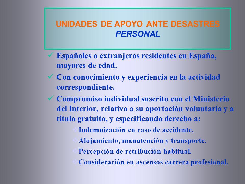 UNIDADES DE APOYO ANTE DESASTRES PERSONAL