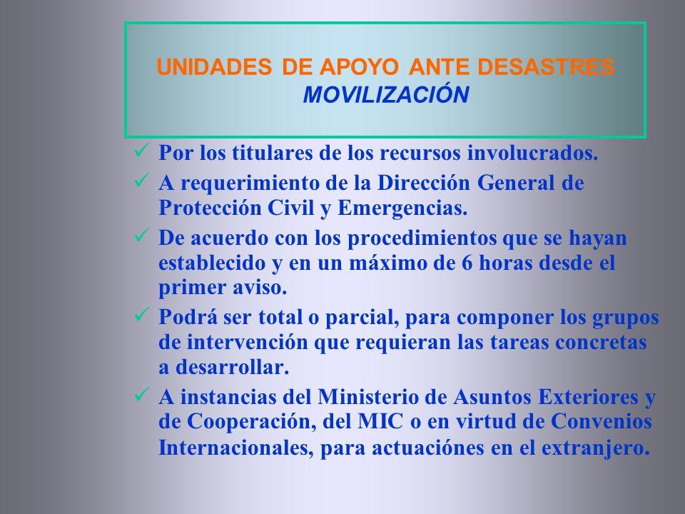 UNIDADES DE APOYO ANTE DESASTRES MOVILIZACIÓN