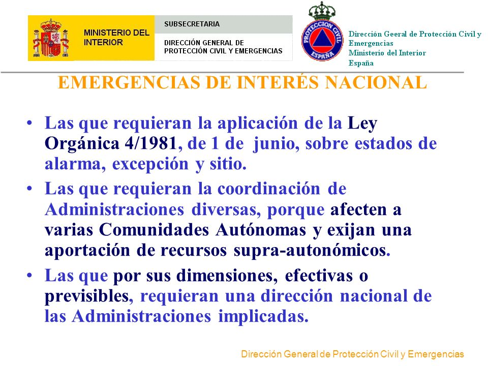 EMERGENCIAS DE INTERÉS NACIONAL