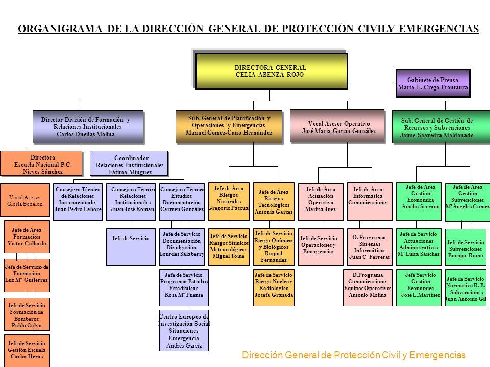 ORGANIGRAMA DE LA DIRECCIÓN GENERAL DE PROTECCIÓN CIVILY EMERGENCIAS