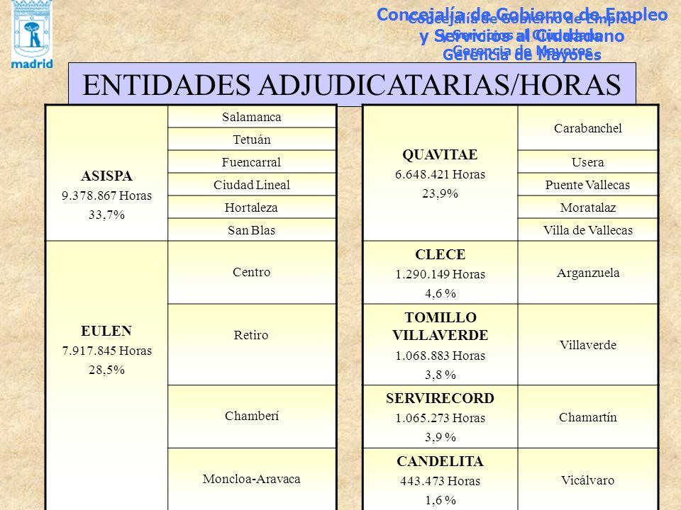 ENTIDADES ADJUDICATARIAS/HORAS