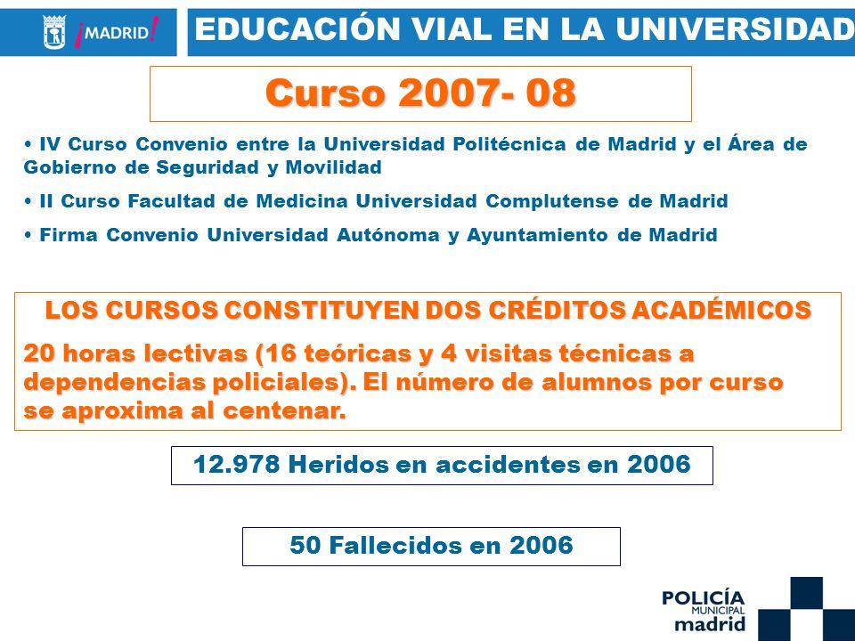 Curso 2007- 08 EDUCACIÓN VIAL EN LA UNIVERSIDAD
