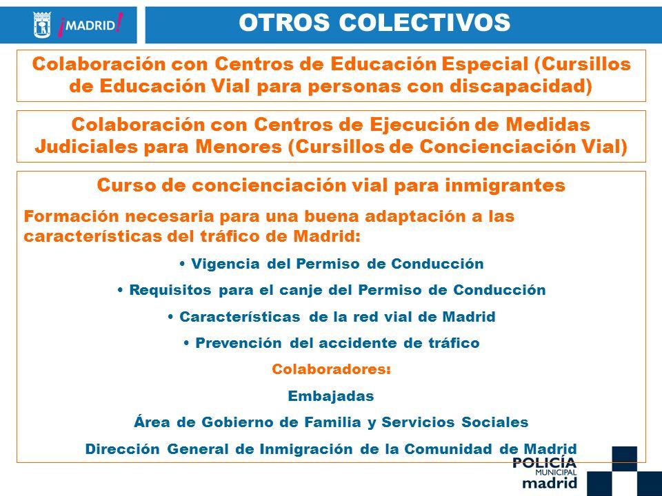OTROS COLECTIVOS Colaboración con Centros de Educación Especial (Cursillos de Educación Vial para personas con discapacidad)