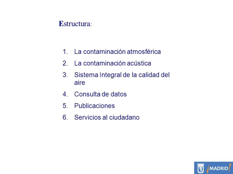 Estructura: La contaminación atmosférica La contaminación acústica