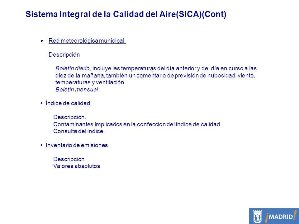 Sistema Integral de la Calidad del Aire(SICA)(Cont)