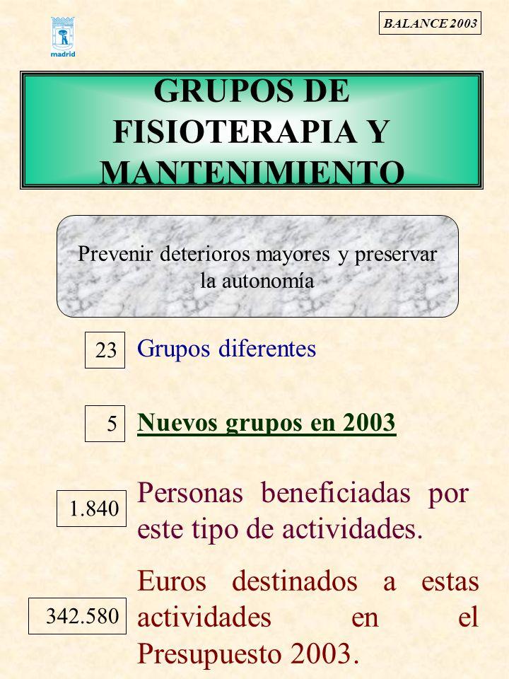 GRUPOS DE FISIOTERAPIA Y MANTENIMIENTO