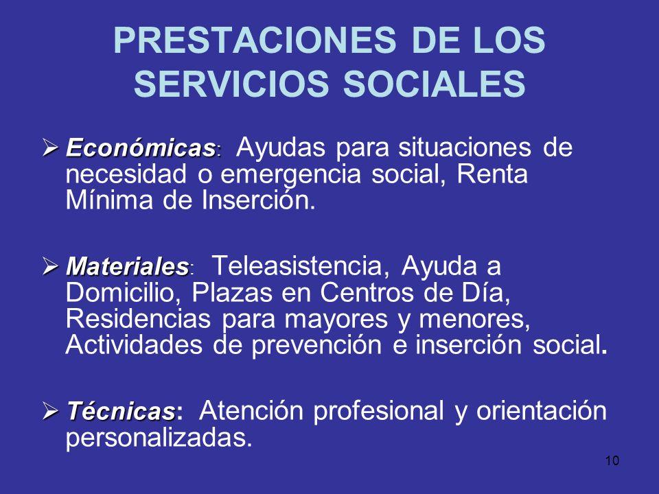 PRESTACIONES DE LOS SERVICIOS SOCIALES