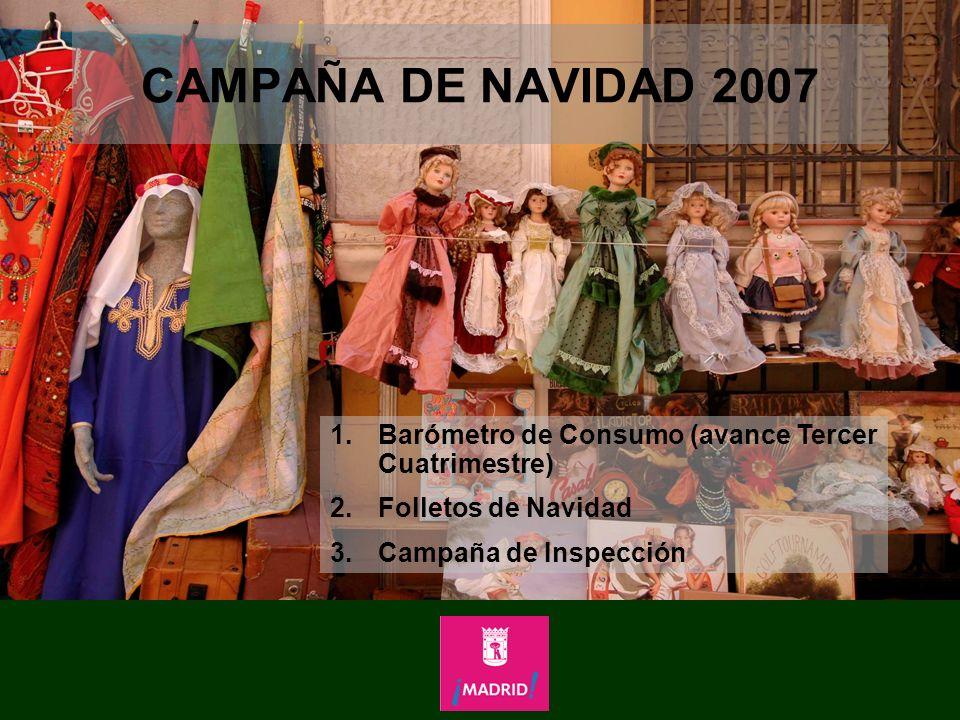 CAMPAÑA DE NAVIDAD 2007 Barómetro de Consumo (avance Tercer Cuatrimestre) Folletos de Navidad.