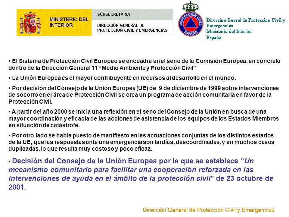 El Sistema de Protección Civil Europeo se encuadra en el seno de la Comisión Europea, en concreto dentro de la Dirección General 11 Medio Ambiente y Protección Civil