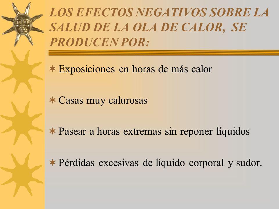 LOS EFECTOS NEGATIVOS SOBRE LA SALUD DE LA OLA DE CALOR, SE PRODUCEN POR: