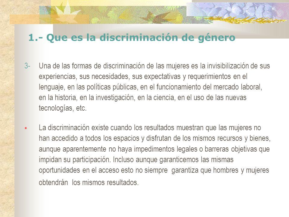 1.- Que es la discriminación de género