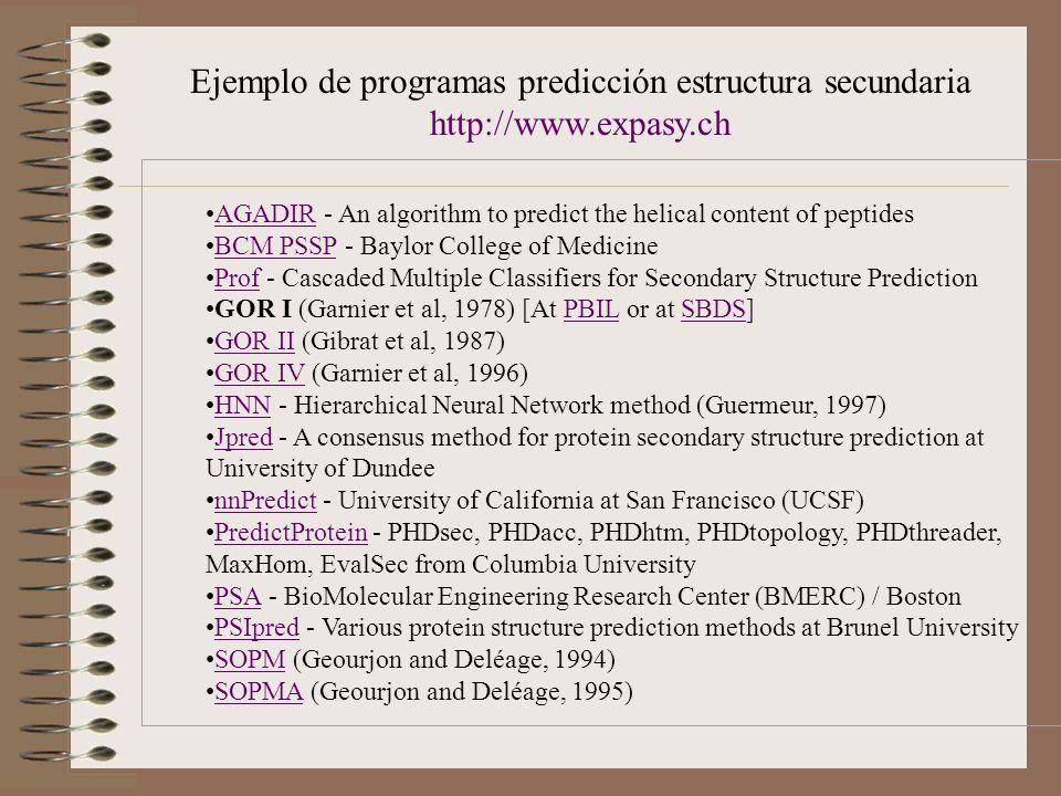 Ejemplo de programas predicción estructura secundaria