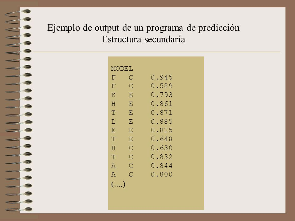 Ejemplo de output de un programa de predicción Estructura secundaria