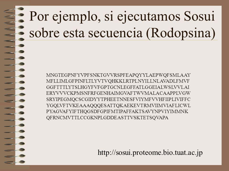 Por ejemplo, si ejecutamos Sosui sobre esta secuencia (Rodopsina)