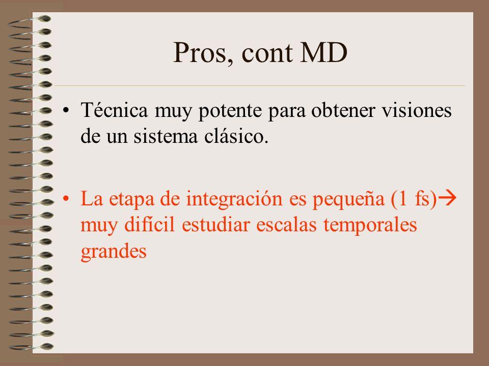 Pros, cont MD Técnica muy potente para obtener visiones de un sistema clásico.