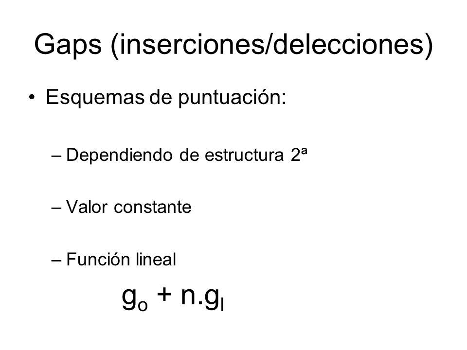 Gaps (inserciones/delecciones)