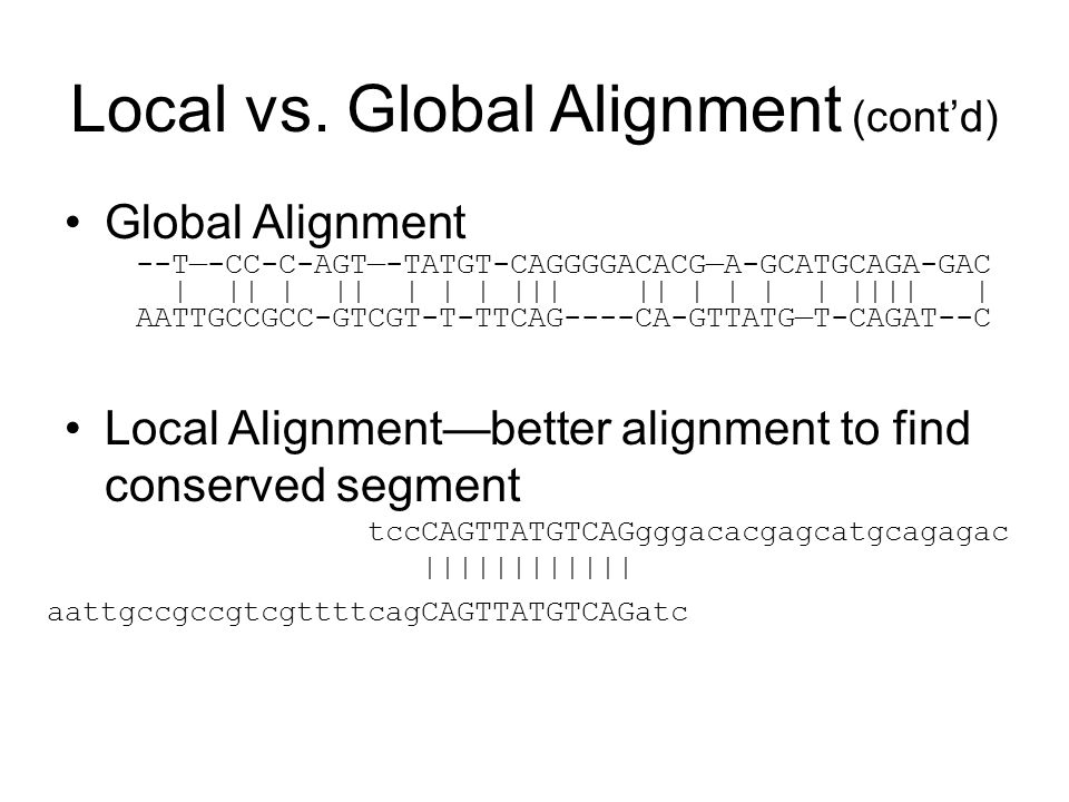 Local vs. Global Alignment (cont'd)