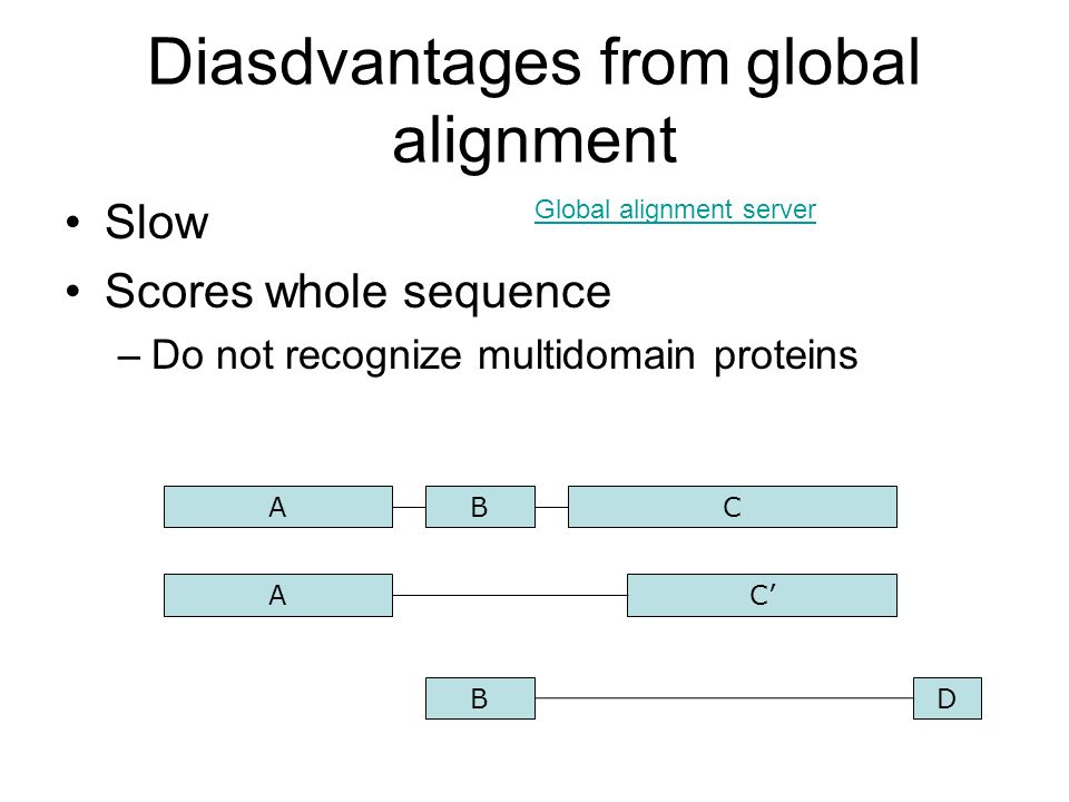 Diasdvantages from global alignment