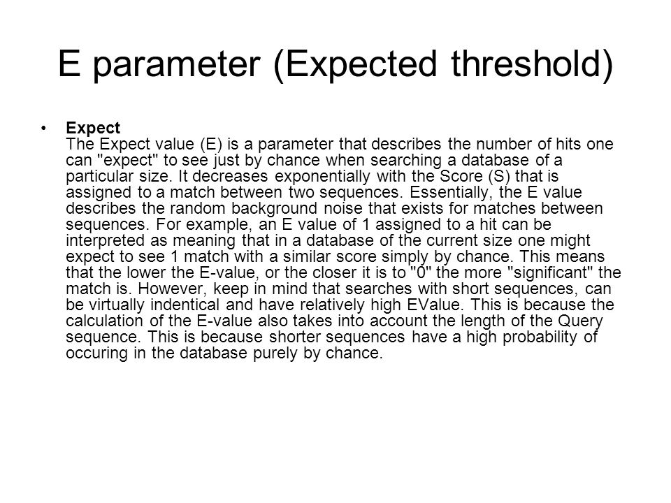 E parameter (Expected threshold)