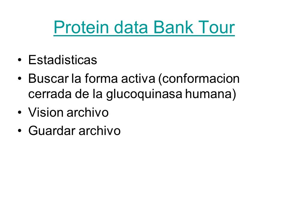 Protein data Bank Tour Estadisticas