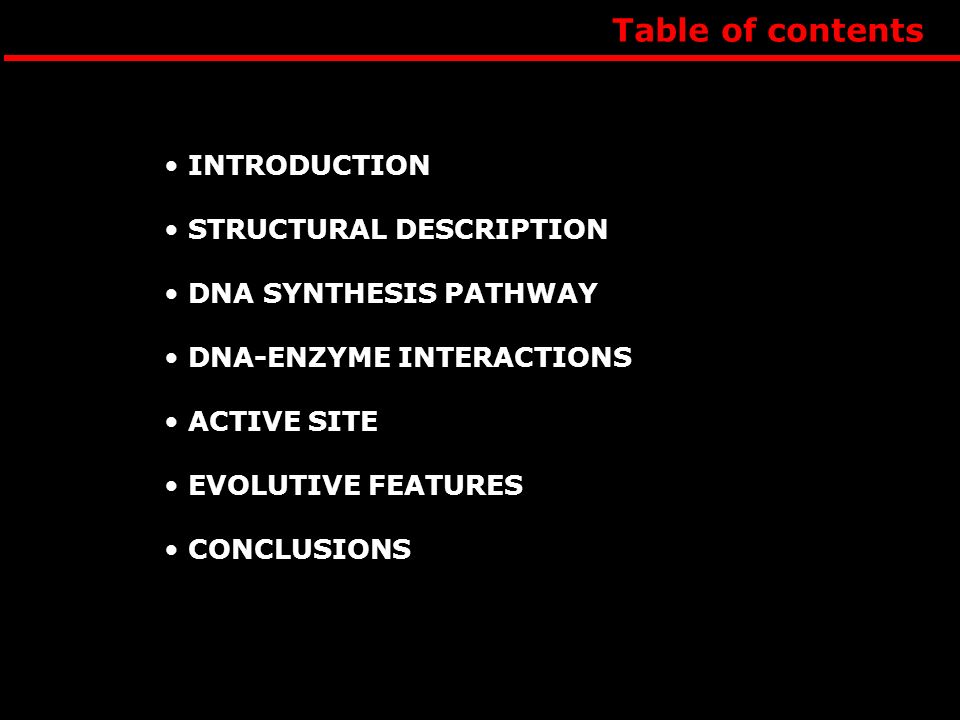 Table of contents INTRODUCTION STRUCTURAL DESCRIPTION