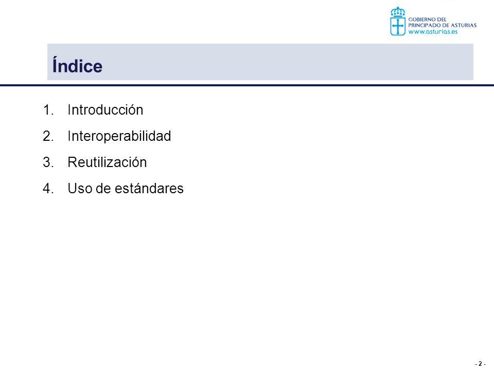 Índice Introducción Interoperabilidad Reutilización Uso de estándares