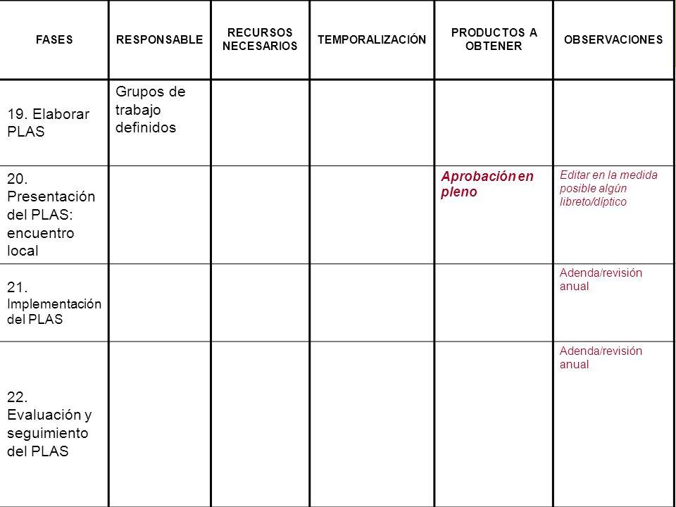 19. Elaborar PLAS Grupos de trabajo definidos 20. Presentación