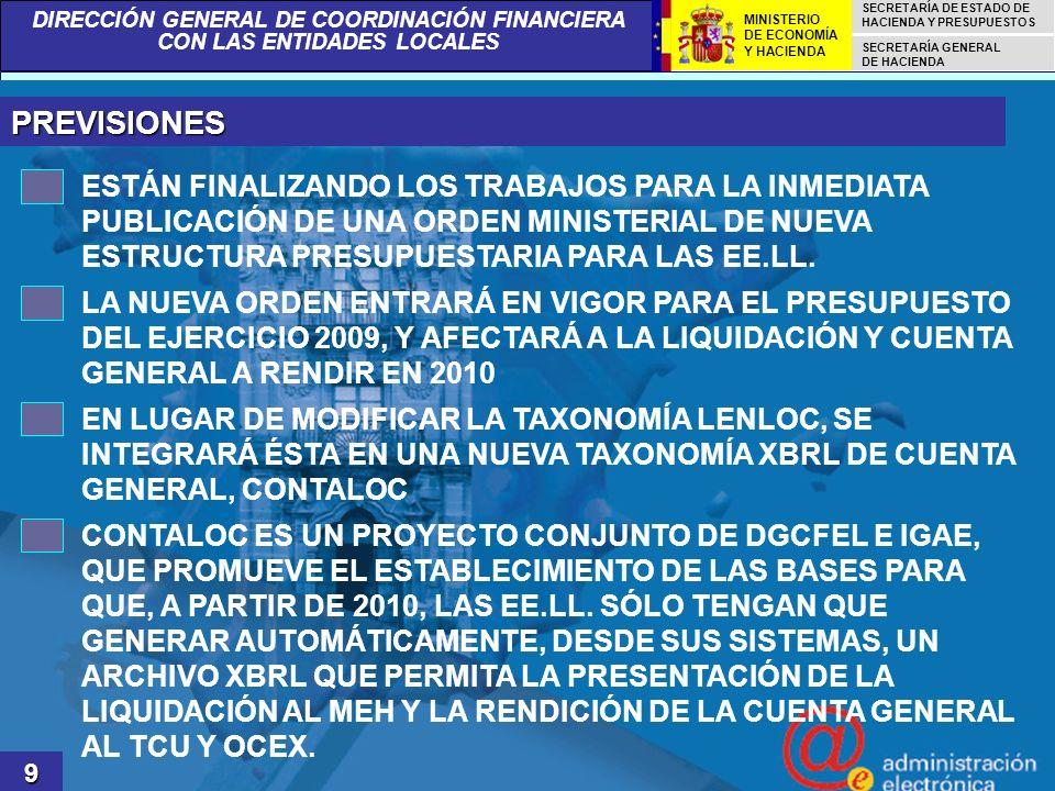 PREVISIONES ESTÁN FINALIZANDO LOS TRABAJOS PARA LA INMEDIATA PUBLICACIÓN DE UNA ORDEN MINISTERIAL DE NUEVA ESTRUCTURA PRESUPUESTARIA PARA LAS EE.LL.
